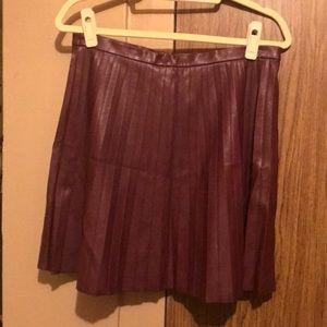 Burgundy High-Waisted Faux Leather Skirt